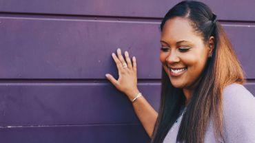 black smiling woman